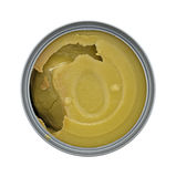Can of thick green pea soup on a white background Stock Photos