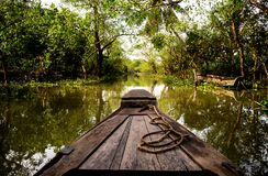 Can tho boat tour through narrow mekong canals to Vietnamese vil. Lages and floating farms Royalty Free Stock Photo