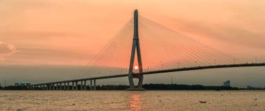 Can Tho Bridge at sunset under the bridge Stock Photo