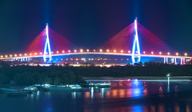 Can Tho cable bridge at night shimmering colorful Royalty Free Stock Photos