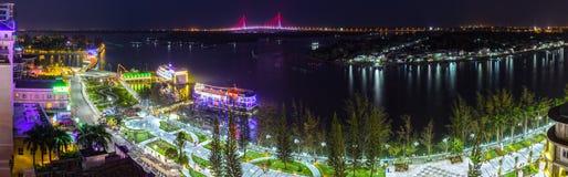 Can Tho city panorama at night Royalty Free Stock Photos