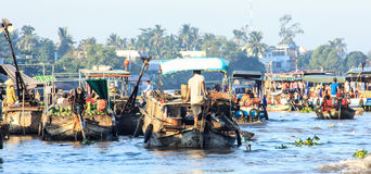 Can Tho Floating Market in Hau River, a distributary of the Mekong river, Can Tho, Vietnam stock photography