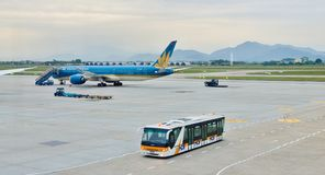 Can Tho international airport, Vietnam -  Vietnam airlines. A civil airplane on runway in Can Tho airport, Vietnam. Airplane Vietnam airlines -  Boeing 787-9 Royalty Free Stock Photos