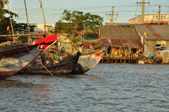 Can Tho, Vietnam. Market boats in the Mekong delta Stock Photo