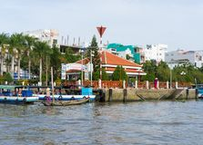 Can Tho, Vietnam - Nov 30, 2014: Ninh Kieu boat station viewing from river side, in Can Thoi city Stock Photo