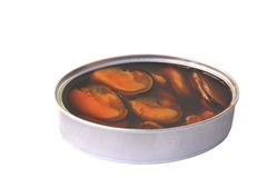 Can of tinned food on white. Background stock images