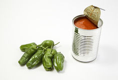 Can of tomato and peppers Stock Images