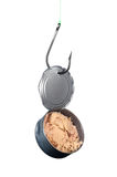Can of tuna on fishing hook. A stainless steel fishing hook snagged an open can of tuna stock photo