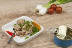 Can of tuna, a healthy meal with vegetables. Fast food preparation Stock Photography