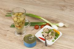 Can of tuna, a healthy meal with vegetables. Fast food preparation Royalty Free Stock Image
