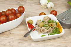 Can of tuna, a healthy meal with vegetables Stock Photo