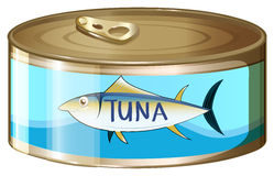 A can of tuna. Illustration of a can of tuna on a white background Royalty Free Stock Photo