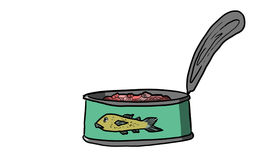 Can of tuna in oil and water, illustration. Can of tuna in oil and water,Canned fish for salads, omelets and diets, illustration Stock Photos