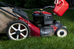 Can is used to fill lawn mower Stock Photo
