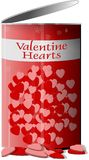 Can of Valentine hearts. This illustration that I created depicts an open can of Valentine hearts Stock Image