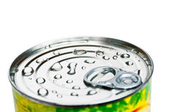 Can with water drops. Isolated on white stock photos