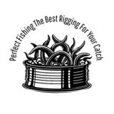 Can with worms fishing rig in engraving style. Logo for fishing or fishing shop on white.  vector illustration