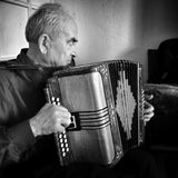 Can you hear the music?  Artistic look in black and white. Stock Image