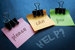 Can You Help ?. Please can you help on sticky notes Royalty Free Stock Images