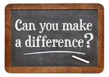 Can you make a difference - blackboard. Can you make a difference question on a vintage slate blackboard Stock Image