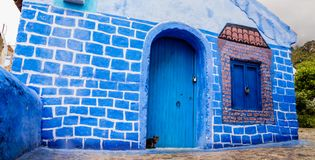 Cat in Chefchaouen. Can you spot the little cute cat? : Really nice town as well royalty free stock images