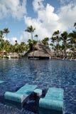 热带手段游泳池在蓬塔Cana,多米尼加共和国 免版税图库摄影