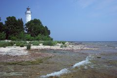 Cana Island Lighthouse. In Door County Wisconsin Royalty Free Stock Image