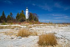 Cana Island Lighthouse. Door Counties Cana Island Lighthouse royalty free stock photography