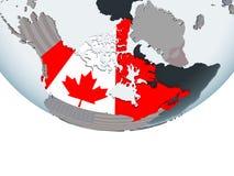 Canadá con la bandera en el globo Foto de archivo libre de regalías