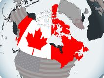 Canadá con la bandera en el globo ilustración del vector