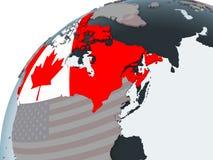 Canadá con la bandera en el globo stock de ilustración