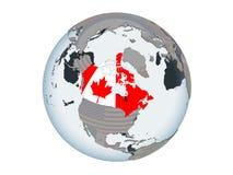 Canadá con la bandera en el globo aislado stock de ilustración