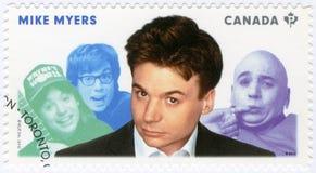 CANADÁ - 2014: demostraciones Michael John Mike Myers llevado 1963, actor, grandes cómicos canadienses de la serie imagen de archivo libre de regalías