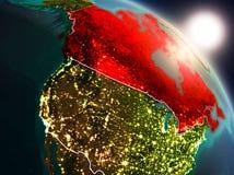 Canadá do espaço durante o nascer do sol ilustração stock