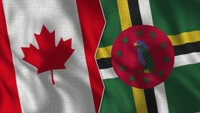 Canadá e Dominica Half Flags Together ilustração stock