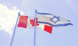 Canadá e Israel nova, bandeiras que acenam contra o céu azul fotografia de stock