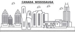 Canadá, línea ejemplo de la arquitectura de Mississauga del horizonte Paisaje urbano linear con las señales famosas, vistas del v Imágenes de archivo libres de regalías