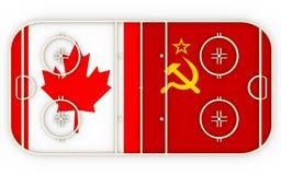 Canadá contra URSS Competição da história do hóquei em gelo Imagens de Stock