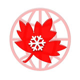 Canada. Canadian red maple leaf with showflake on the globe symbol Stock Images