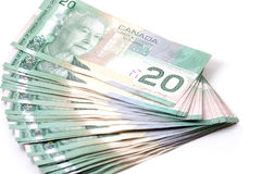 Canada 20 dollars bills Stock Image