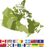 Canada. A detailed map of Canada highlighting each province and territory and includes all flags Royalty Free Stock Photo