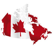 Canada. Vector illustration of a map and flag from Canada
