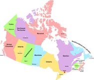 Canada Administrative Map royalty free stock photography