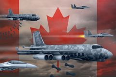 Canada air forces bombing strike concept. Canada army air planes drop bombs on flag background. 3d Illustration. Canada bomb air strike concept. Modern Canada Stock Image