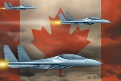 Canada air forces strike concept. Air planes attack on Canada flag background. 3d Illustration. Canada air strike concept. Modern war airplanes attack on Canada Royalty Free Stock Images