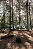Canada Algonquin National Park 30.09.2017 Parked RV camper Lake two rivers Campground Beautiful natural forest landscape Royalty Free Stock Photography