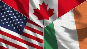 Free Canada And Ireland And USA Realistic Three Flags Together Royalty Free Stock Images - 164589589