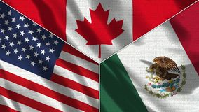 Free Canada And Mexico And USA Realistic Three Flags Together Royalty Free Stock Photos - 164589908