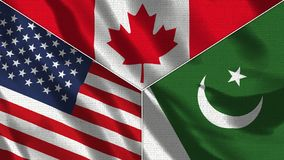 Free Canada And Pakistan And USA Realistic Three Flags Together Stock Images - 164590224