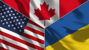 Free Canada And Ukraine And USA Realistic Three Flags Together Stock Photography - 164590622
